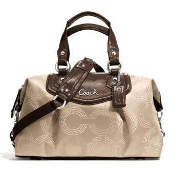 Coach Ashley Dotted Op Art Satchel Purse Handbag รุ่น 20027 (MAHOGANY)