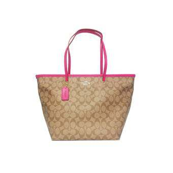 COACH SIGNATURE LARGE COH TAXI TOTE (Pink Ruby)