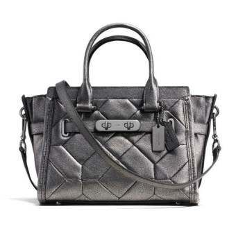 COACH SWAGGER 27 IN METALLIC Patchwork LEATHER รุ่น 34547 - Gunmetal