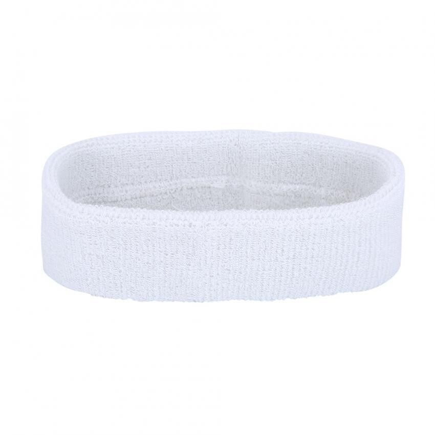 epayst Cotton Sweatband Cycling Headband Sport Basketball Tennis Bike Hairband White
