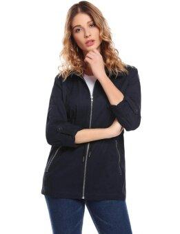 High Quality Sunwonder Women Casual Turn Down Collar Long Sleeve Zip-up Jacket(Blue) - intl