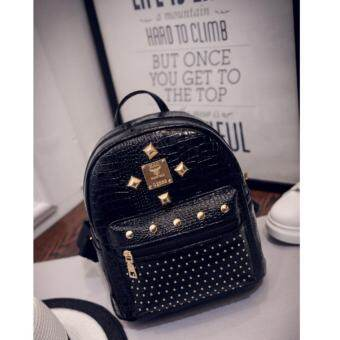 Lady Travel Backpack Shoulder Bag Rivet Punk Package crocodile Lines Bag (Black, M) กระเป๋าสะพายหลัง