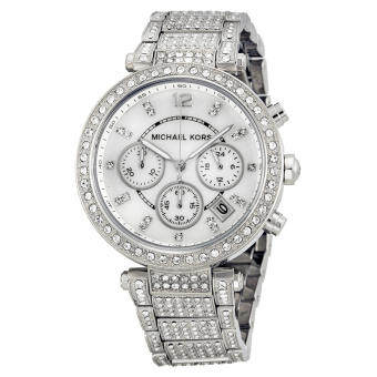 Michael Kors Parker Mother of Pearl Dial Crystals Steel Ladies Watch  Stainless Strap MK5572 - Silver