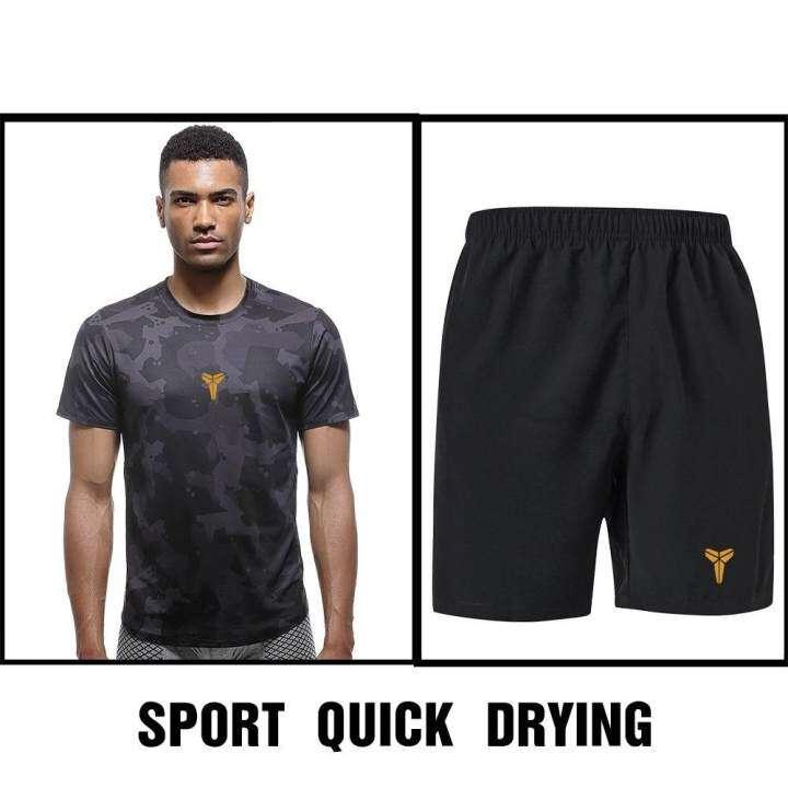 Save ชุดออกกำลังกายผู้ชาย เชต 2 ชิ้น เสื้อแขนสั้น คอกลม + กางเกงขาสั้น ซับเหงื่อ แห้งเร็ว (สีดำ) รุ่น K20+K22