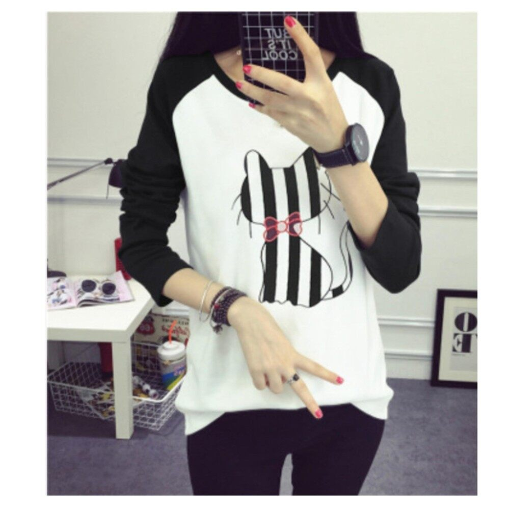 super fashion Autumn new Korean ladies long-sleeved T-shirt
