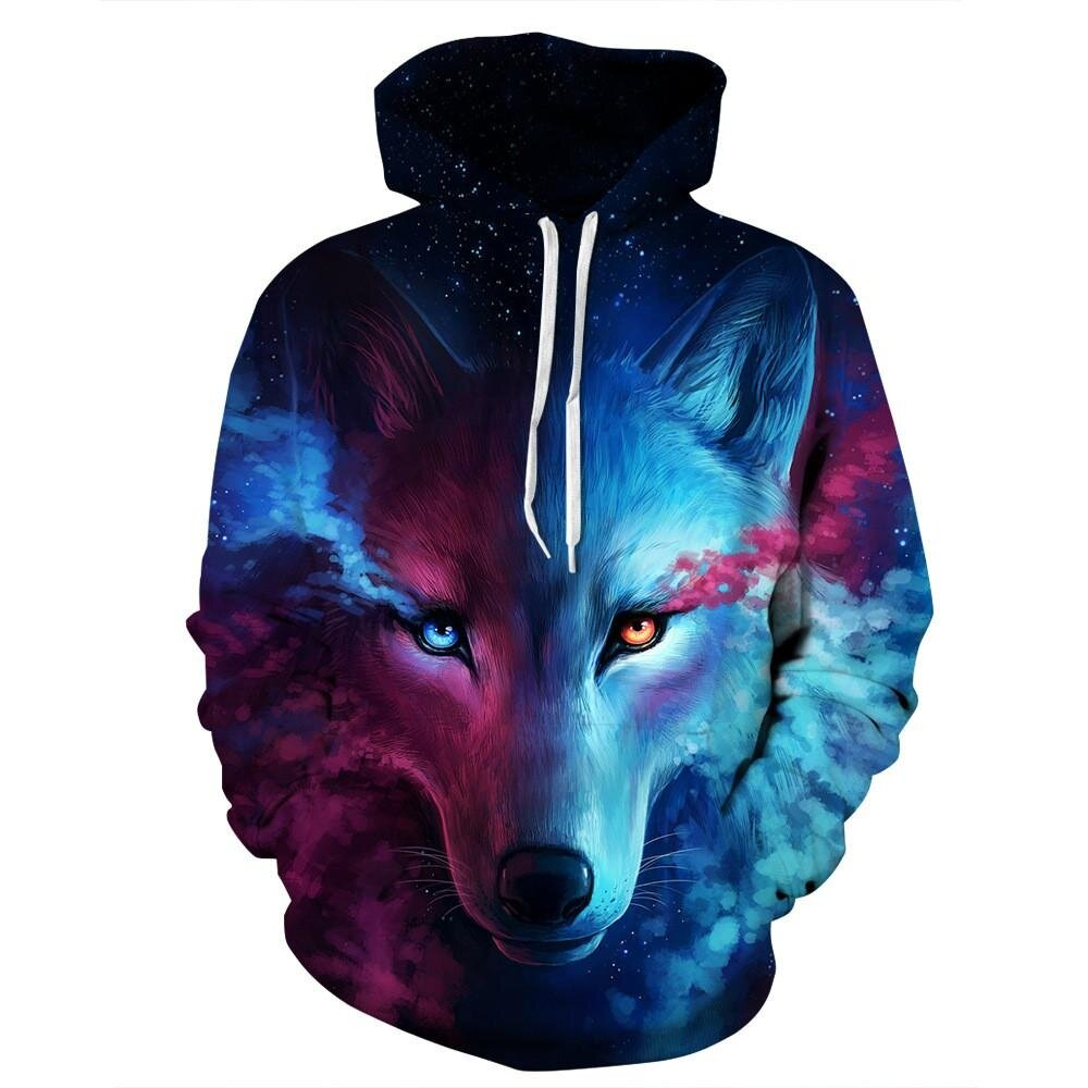 Unisex Couples Lovers 3D Sky Wolf Print Loose Hoodies Blouse Tops Shirt - intl