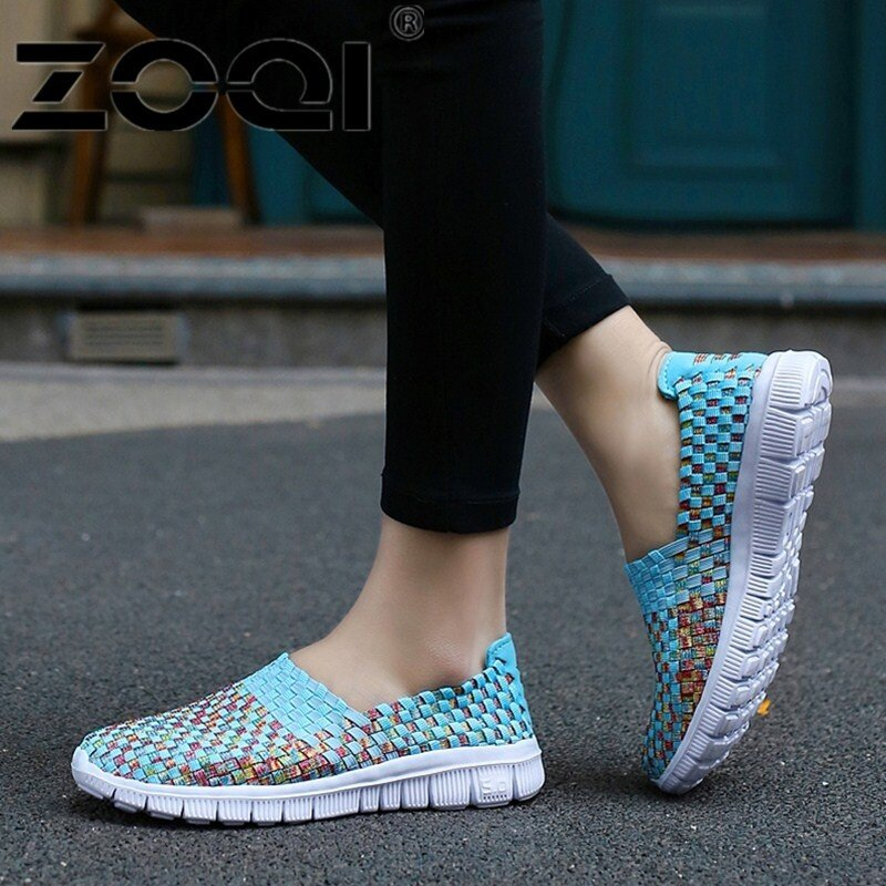 ZOQI Women Casual Shoes Breathable Handmade Woven Shoes Comfortable Light Weight Flat Shoes (Pink) - intl รองเท้าโลฟเฟอร์