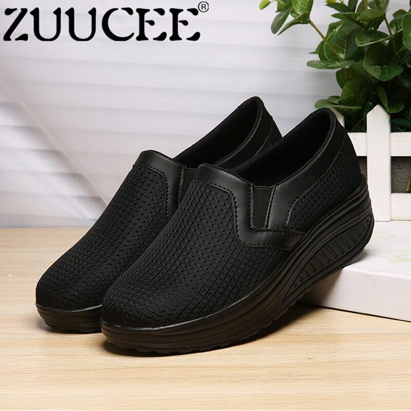 ZUUCEE Women Wedges  Shoes Big Size Breathable Mesh Shoes Women Slip-Ons Shake Shoes