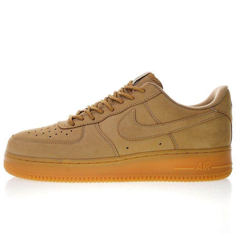 ยี่ห้อนี้ดีไหม  ตราด Ready Stock Nike_AIR_Force 1 Low 07 Flax Men and Women Skateboarding Shoes Outdoor Sneakers Shock Absorption Fashion Shoes