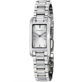 Burberry Check Engraved Rectangle Ladies-small Dial Stainless Steel Watch BU9500 - Silver