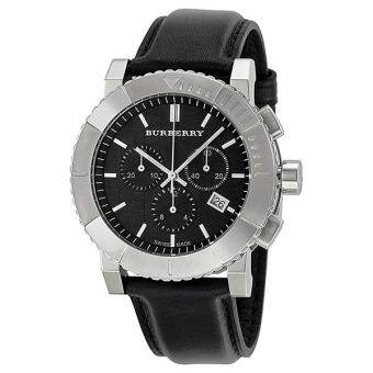 Burberry Men's BU2306 Round Chrono Black Dial Black Leather Strap Watch