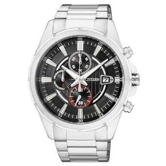 CITIZEN Quartz Men's Watch Chronograph Black Dial Stainless รุ่น AN3560-51E - Silver/Black-Red