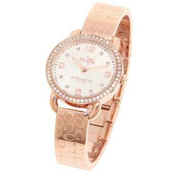 COACH Women's Delancey 28mm Bangle Watch Silver/Rose Gold Watch 14502355
