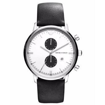 Emporio Armani Watch Chronograph Black Leather Strap AR0385