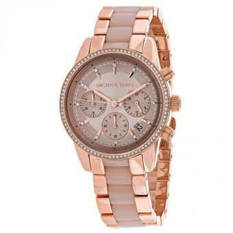 Michael Kors Ritz Quartz Chronograph Rose Dial Rose Gold-tone Pink Acetate Ladies Watch MK6307