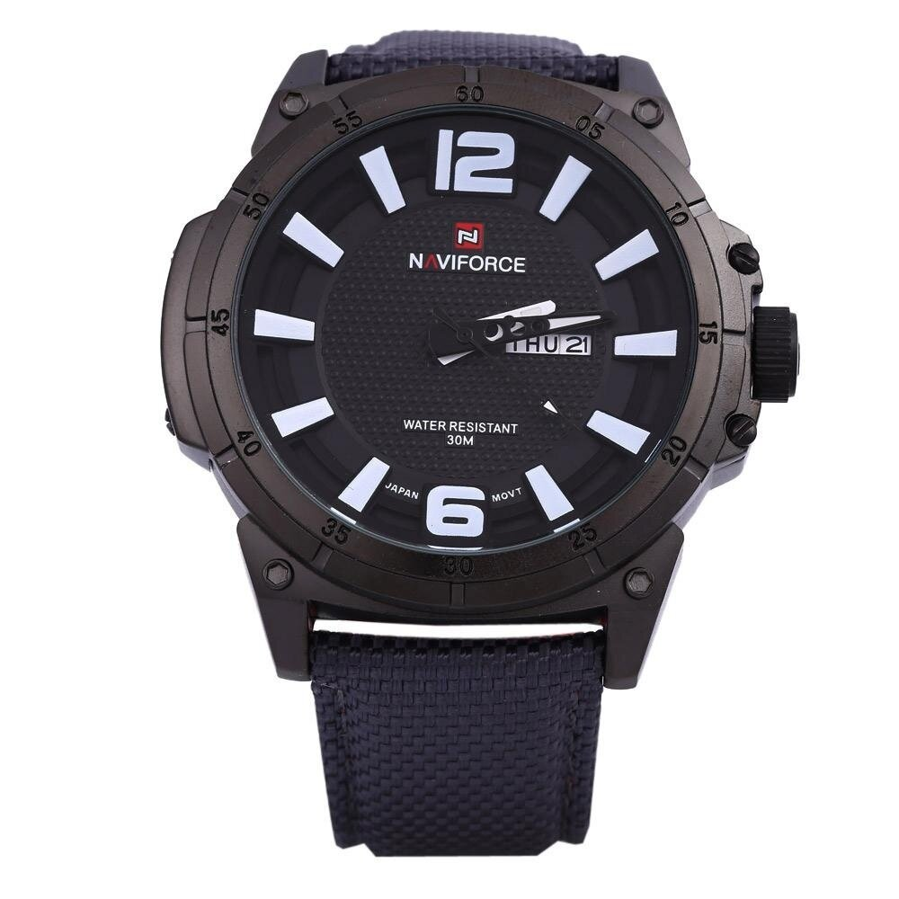 Naviforce 9066 Men Quartz Watch Nylon Strap Calendar 3D Dial Analog