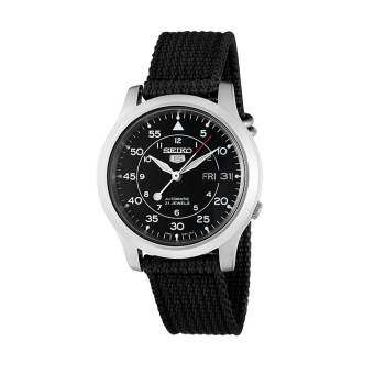 Seiko 5 Military Automatic  Mens Watch Black Canvas strap SNK809K2