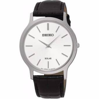 SEIKO นาฬิกาข้อมือผู้ชาย Quartz Silver tone Stainless steel Case Leather Strap SUP873P1