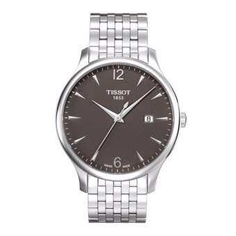 Tissot นาฬิกาข้อมือชาย T063.610.11.067.00 Silver-Tone Stainless Steel Anthracite Dial Watch
