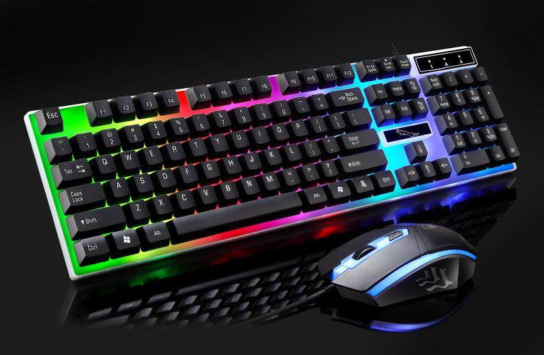 Keyboard and Mouse Set แป้นพิมพ์สำหรับเล่นเกม Mechanical Feeling 104 Key USB Wired RGB LED Back light