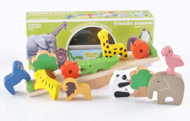 ไม้กระดก บล๊อกสัตว์ บล๊อกไม้ ของเล่นไม้ ของเล่นเด็ก ของเล่นเสริมพัฒนาการ Friendly Seesaw