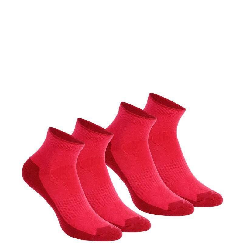 ถุงเท้าแบบยาวปานกลางสำหรับเดินป่าธรรมชาติ รุ่น ARPENAZ 50 2 คู่ (สีชมพู)