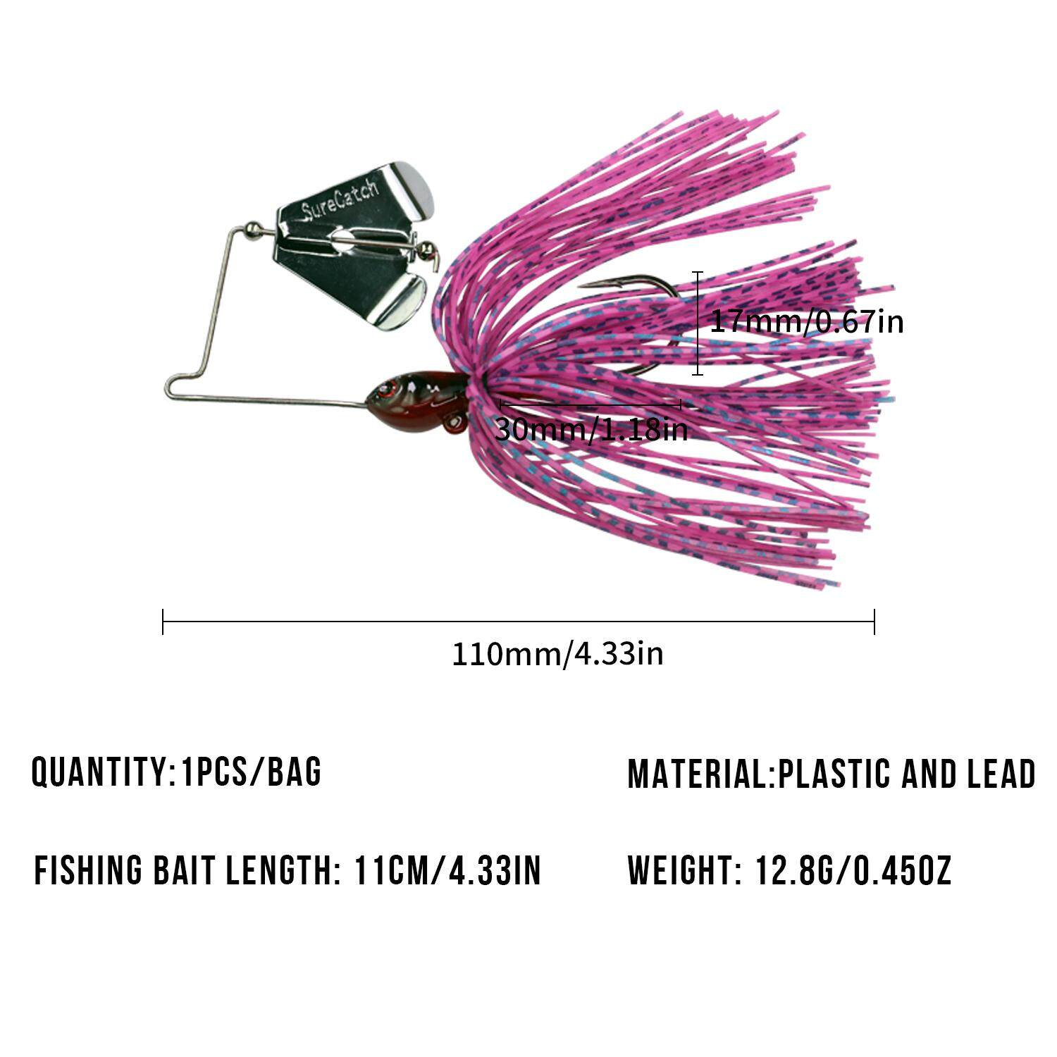 1pcs Spinnerbait Fishing Lures 12.8g/0.45oz Buzzbait Fishing Lures For Bass with swim jig Blades Lure