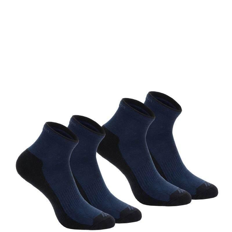 ถุงเท้าแบบยาวปานกลางสำหรับเดินป่าธรรมชาติ รุ่น ARPENAZ 50 2 คู่ (สีกรมท่า)