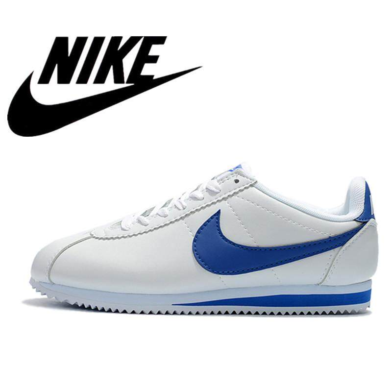 สอนใช้งาน  นราธิวาส Ready Stock Nike_CLASSIC CORTEZ NYLON Women s Man Running Shoes Breathable Lightweight classic Sneakers Shoes Cortex White blue 36-45 Fashion Shoes