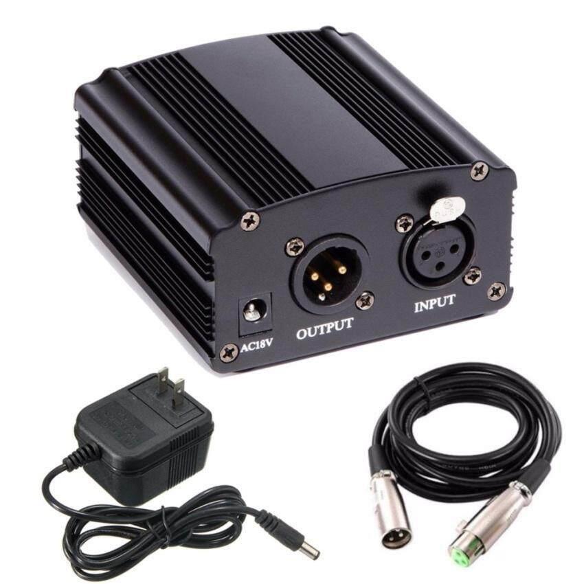เครื่องขยายสำหรับไมโครโฟน คอนเดนเซอร์Phantom Power 48Vพร้อมสาย XLR 1เมตร (สีดำ)