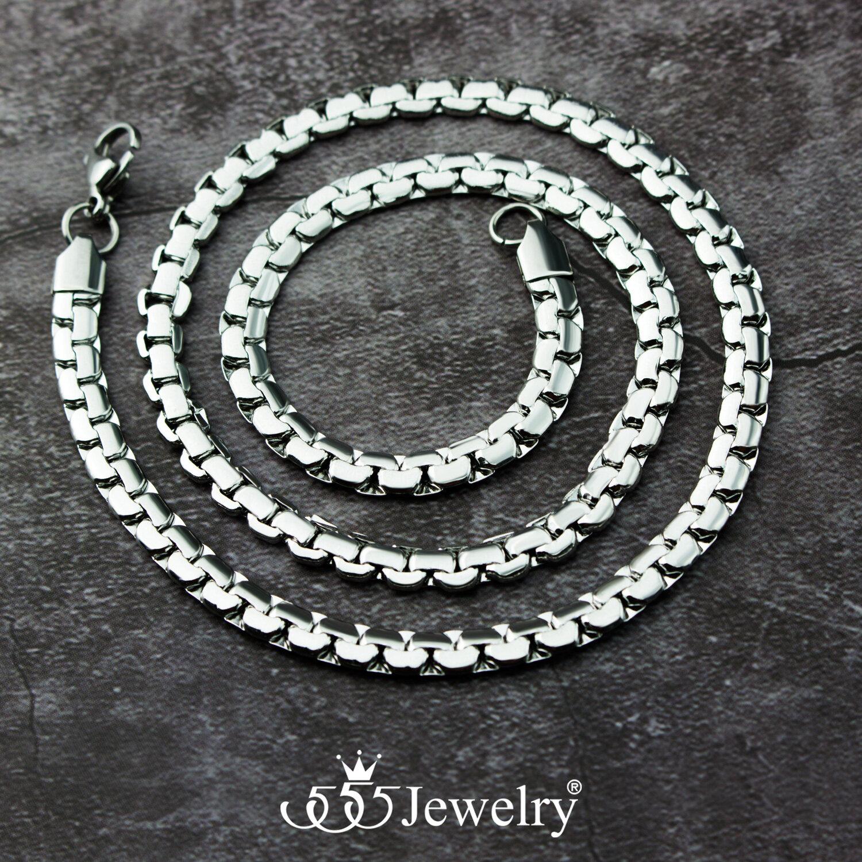 รีวิว 555jewelry สร้อยคอสแตนเลส สตีล ลายโซ่ข้อชิดเส้นแบน ดีไซน์คลาสสิก รุ่น MNC-C048 - สร้อยคอแฟชั่น สร้อยคอผู้หญิง (CH29)