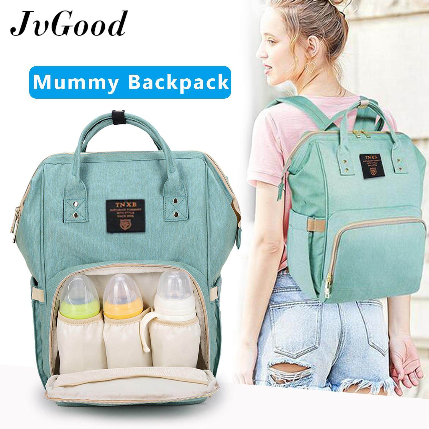 JvGood กระเป๋าคุณแม่ Fashion Multifunctional Mummy Backpack Unti-dirty Maternity Nappy Diaper Bag Large Capacity Nursing Mother bag Travel Backpack