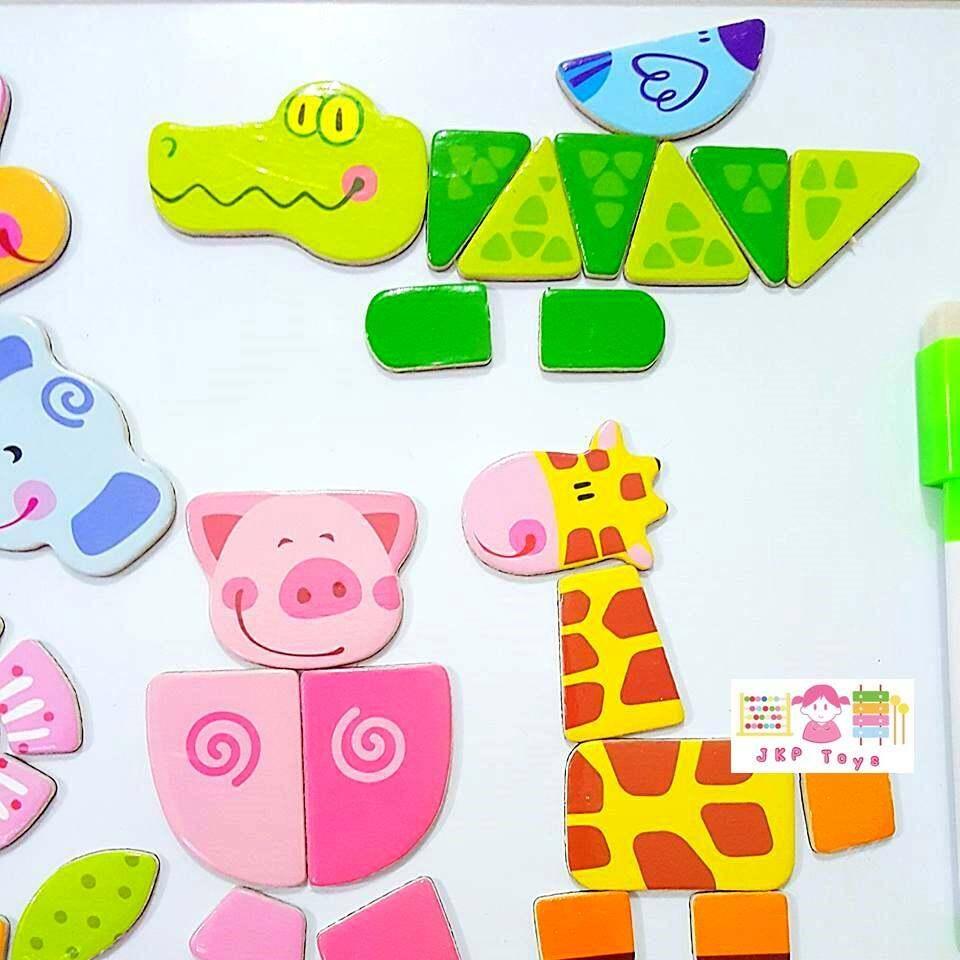 รีวิว Todds & Kids Toys ของเล่นไม้เสริมพัฒนาการ ของเล่นไม้ ชุดกระดานเเม่เหล็กเเละกระดานดำชุด Happy Wild Animals