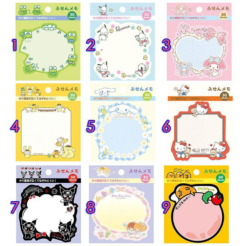 30 Pcs Sticky Notes Cute Memo Marker Office School Student Stationery Japanese Kawaii Sanrio Pad Creative Cute Cartoon Supplies