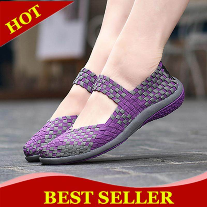 ZOQI Summer Women Fashion Shoes Breathable casual Shoes Loafers Flats Shoes Plus Size 35-42 Slip-on รองเท้าโลฟเฟอร์