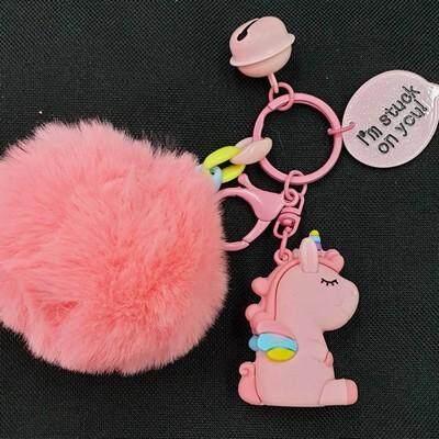 ส่งฟรี kerry !!! ขาย พวงกุญแจ พู่ โมเดล ลาย ยูนิคอร์น Unicorn ชมพู