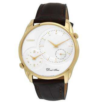 CITIZEN Analog White Dial Duo Time Men's Watch - AO3008-07A - สายหนังน้ำตาล / Gold