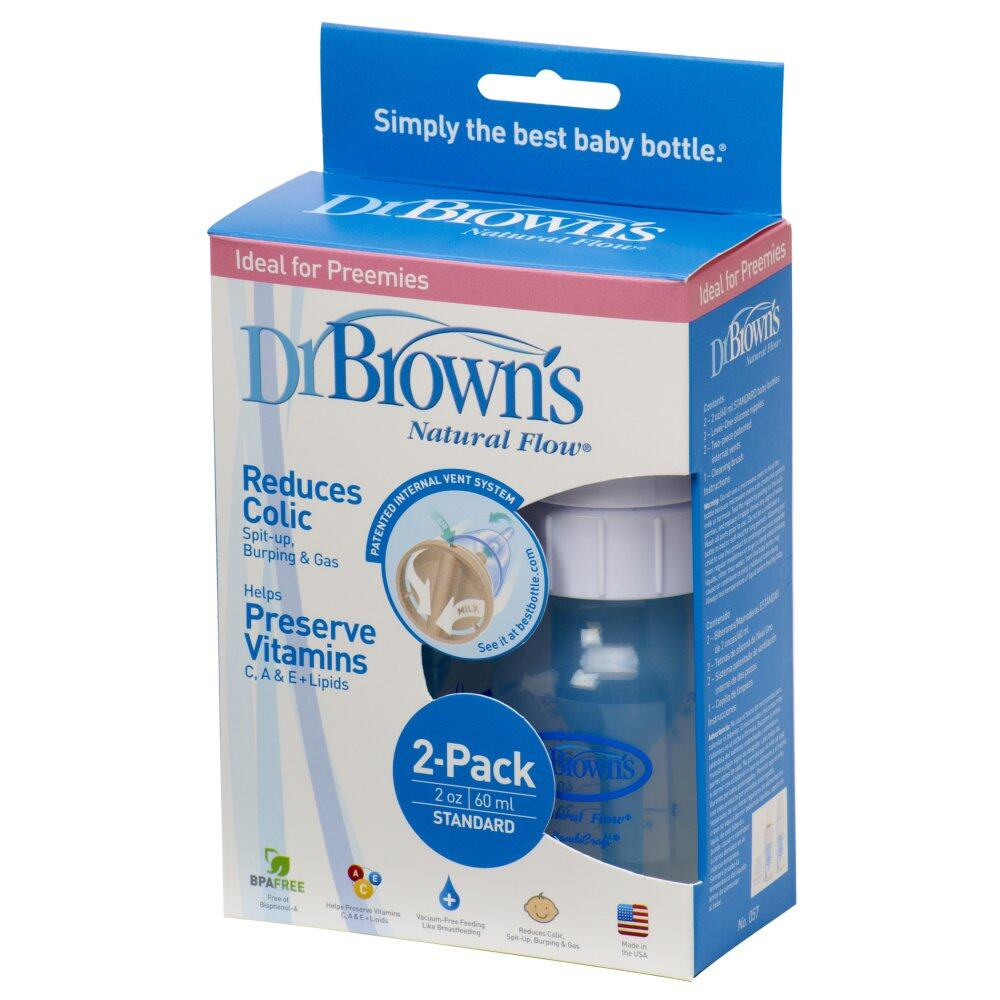 Dr.Brown's : DRB57# ขวดนม 2oz Natural Flow Baby Bottle, Twin Pack PP