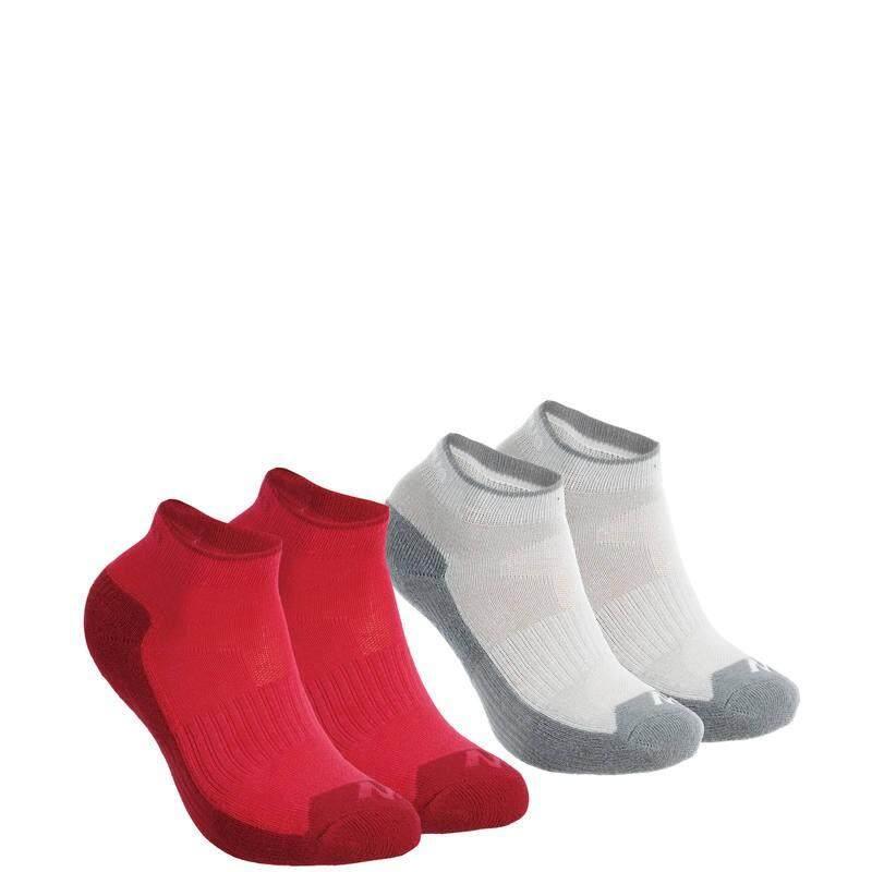 ถุงเท้าหุ้มข้อเด็กสำหรับใส่เดินป่ารุ่น MH100 2 คู่ (สีชมพู/เทา)