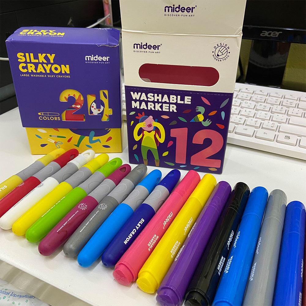 mideer สีเทียนสำหรับเด็ก ลบออกได้!!! สีสำหรับเด็ก สีเทีย สีชอล์ค 6 สี 12 สี และ 24 สี SILKY CRAYON