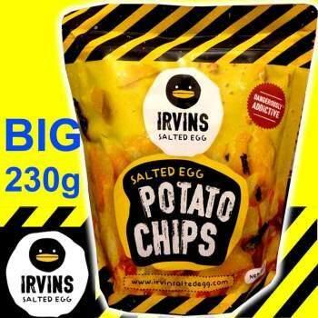 ส่งฟรี!! แท้ 100% Irvins Salted Egg Potato Chips มันฝรั่งกรอบคลุกไข่เค็ม ไซส์ใหญ่จุใจ 230g