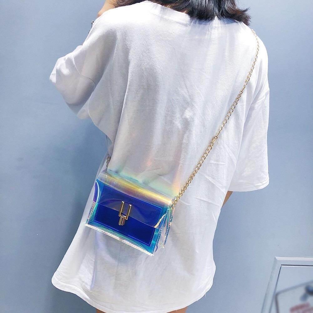 ลดราคา ฉลองร้านใหม่ กระเป๋าสะพายพาดลำตัว แบบโปร่งใส เหมาะสำหรับใส่เที่ยวทะเล เที่ยวกลางคืน แฟชั่นเก๋ๆ ดีต่อใจ ไดต่อจี ขนาดเล็ก พกพาสะดวก สีสันสดใส โฉมปี2019