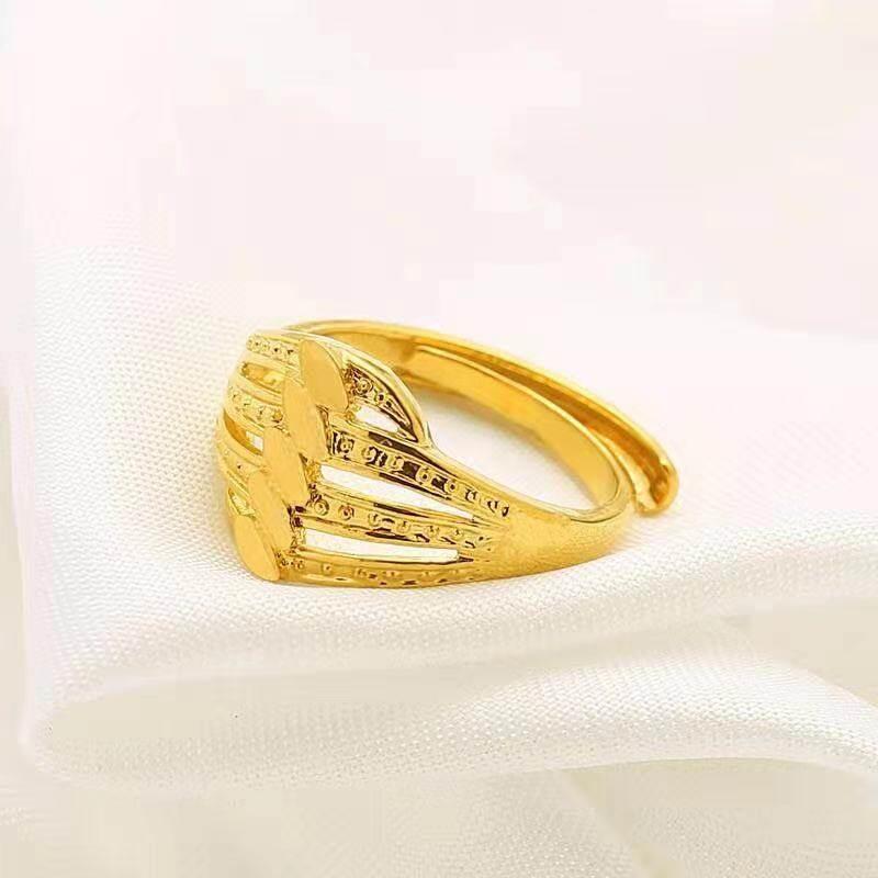 แหวนชุบทอง 24K ลายสัญลักษณ์ดอกไม้ รูปหัวใจ น้ำหนักครึ่งสลึง ปรับขนาดเองได้ เคลือบแก้ว สินค้าเป็นงานชุบทองแท้
