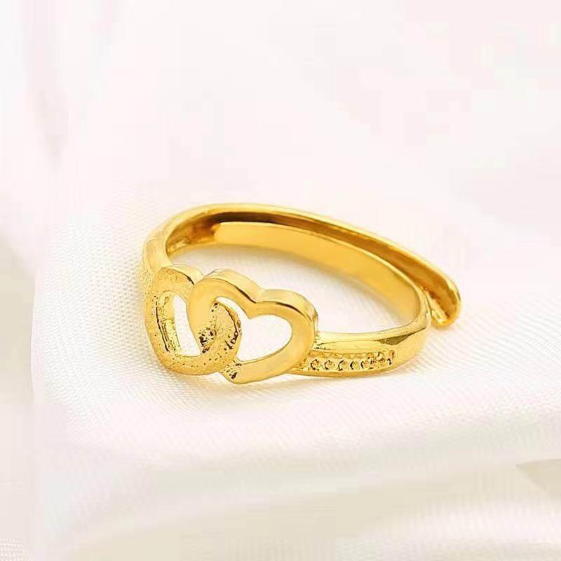รีวิว แหวนชุบทอง 24K ลายสัญลักษณ์ดอกไม้ รูปหัวใจ น้ำหนักครึ่งสลึง ปรับขนาดเองได้ เคลือบแก้ว สินค้าเป็นงานชุบทองแท้