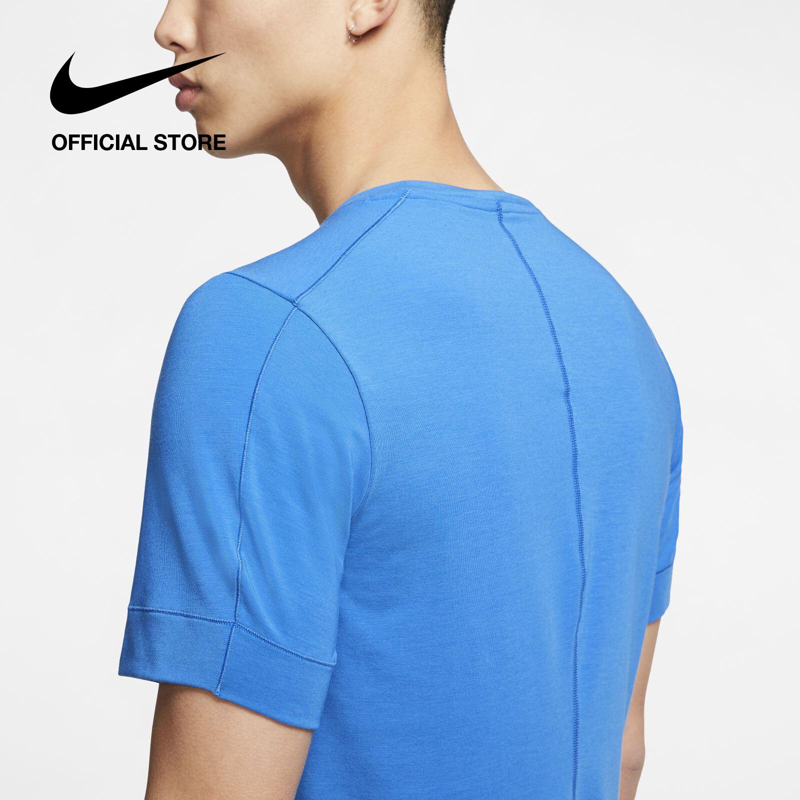 Nike Men's Yoga Short-Sleeve Top - Blue ไนกี้ เสื้อโยคะแขนสั้นผู้ชาย - สีฟ้า