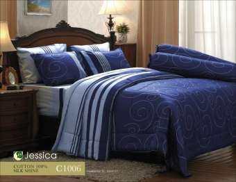 Jessica cotton100% ชุดเครื่องนอน ครบชุด ขนาด 6 ฟุต รวมผ้านวม รุ่นพิมพ์ลาย (ชุด6ชิ้น) รองรับที่นอนหนาถึง 14 นิ้ว-