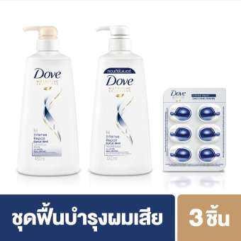ซื้อที่ไหน โดฟ อินเทนส์ รีแพร์ แชมพู 680มล + คอนดิชันเนอร์ 650มล + วิตามิน (1 ซอง) Dove Intense Repair Shampoo 680ml + Conditioner 650ml + Vitamin Intense Repair Hair Vitamins (1 sachet)