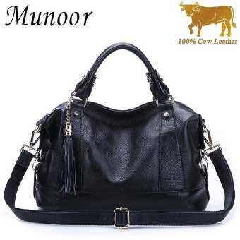 กระเป๋าถือสตรีด้านบนกระเป๋าหนังวัวแท้วัวแท้ 100% กระเป๋าสะพายแฟชั่นกระเป๋าถือคลัทช์ถือ (สีดำ) -นานาช-