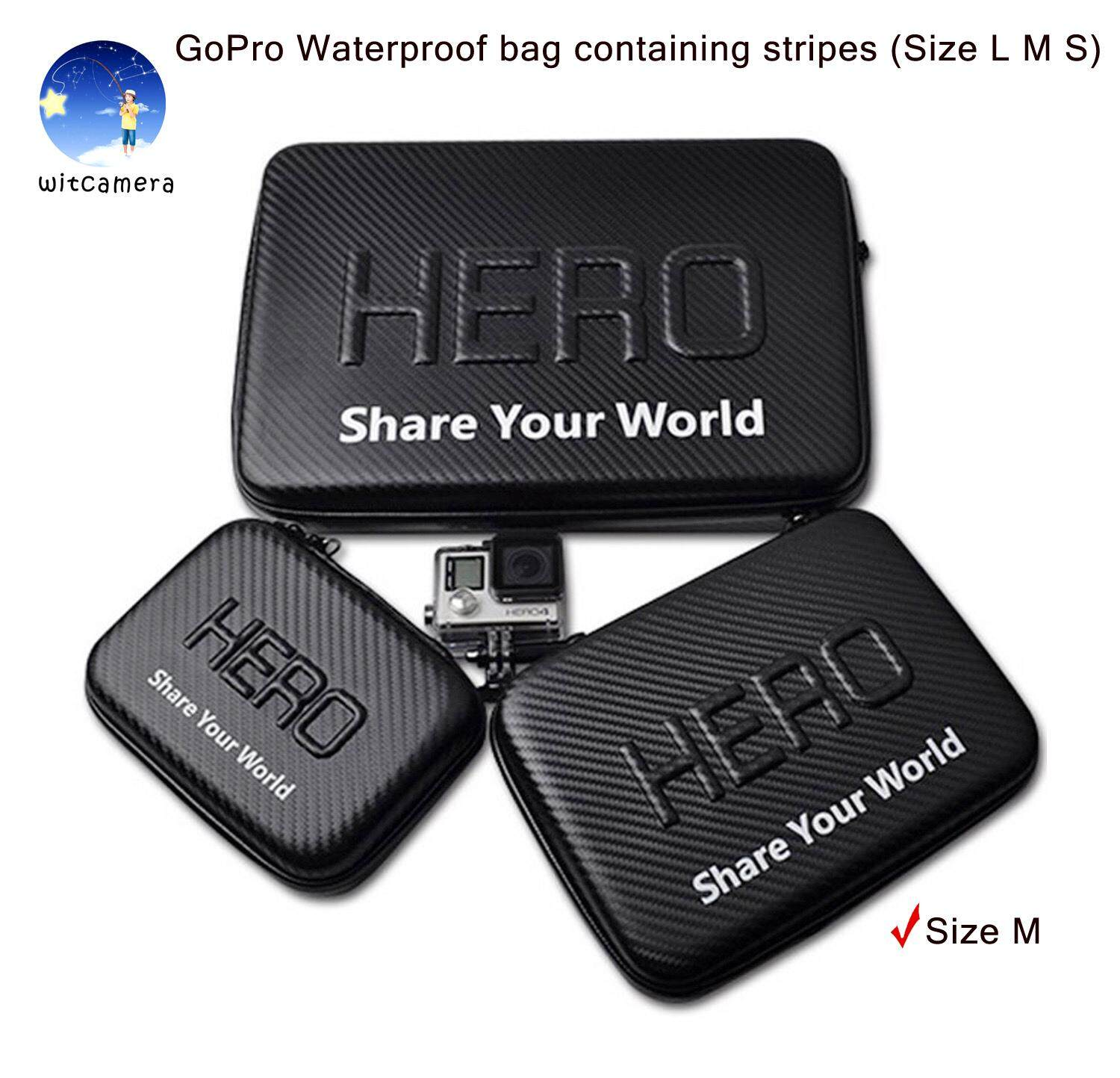 GoPro กระเป๋ากันน้ำ ลายเคฟล่า ใส่ได้กับ GOPRO Hero 6/5/4/3+/3 SJCam Xiaomi YI ฯลฯ (มีไซส์ L M S) GoPro Waterproof bag containing stripes (Size L M S), GoPro, SJCam, Xiaomi YI, and other accessories can be installed