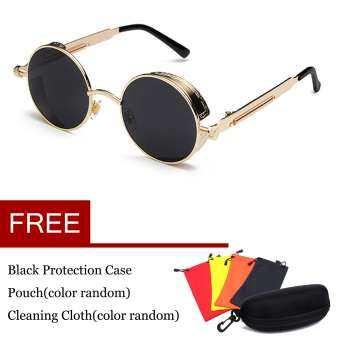 แว่นตากันแดดเหล้าองุ่นสตีมพังค์แว่นตากันแดดแฟชั่นแว่นตากันแดด Mirrored ย้อนยุคแว่นตาสีทองสีเทา - นานาชาติ